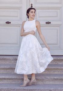 Falda de organza blanca y cuerpo de crepé Cotonnus hecha a medida en Madrid